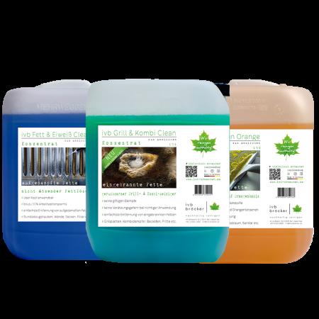 Komplett Paket ivb Grill und Kombi Clean, ivb Multi Clean Orange, ivb Fett und Eiweiß Clean für Küchenreinigung